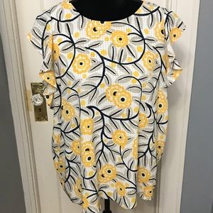 Ann Taylor factory floral yellow white blouse XL